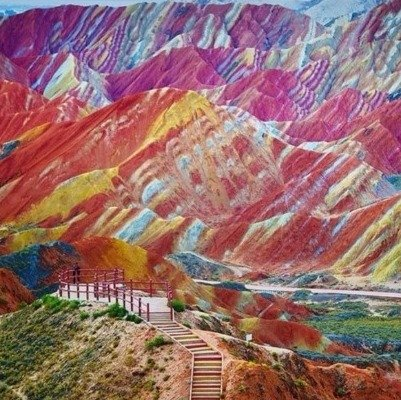 The Rainbow Mountains in Gansu, China